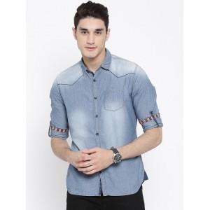 Numero Uno Blue Cotton Denim Washed Patterned  Shirt