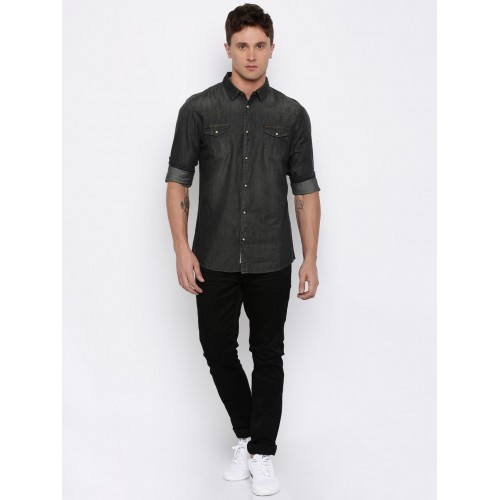 Being Human Black Cotton Denim Solid Slim Fit Shirt