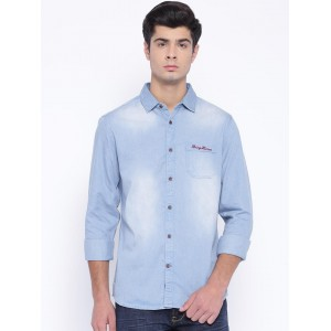 Being Human Blue Cotton Denim Slim Fit Solid Casual Shirt
