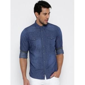 Being Human Blue Cotton Denim Printed Slim Fit Casual Shirt