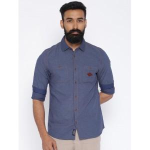 Being Human Blue Cotton Denim Slim Fit Casual Shirt
