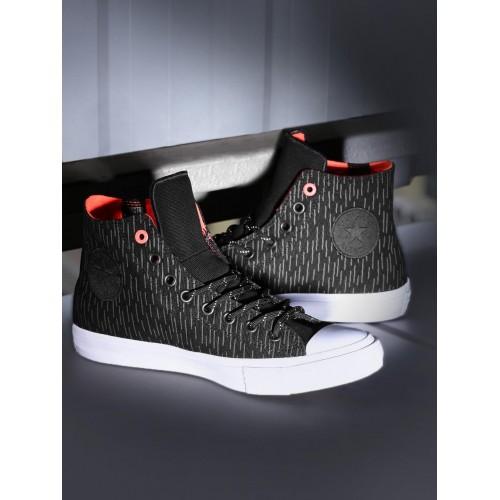 7b658d2bd1f570 ... Converse Men Black Printed Chuck Taylor All Star II Shield Canvas High-Top  Sneakers ...