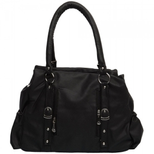 Gracetop Black Leather Solid Hand Bag