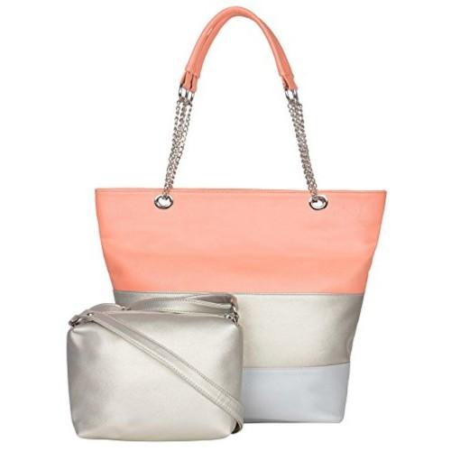 ADISA Gray Synthetic Leather Handbag with sling bag