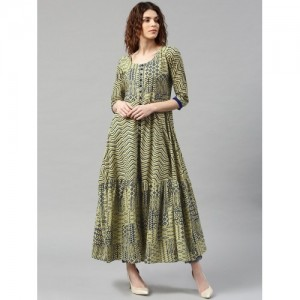 Libas Olive & Navy Blue Cotton Printed Anarkali Kurta