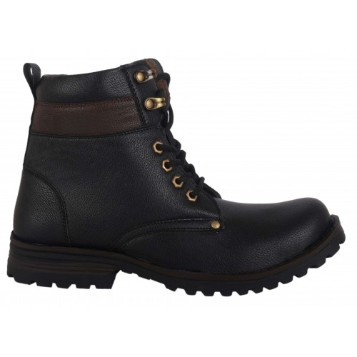 Woakers Stylish Men's Black Ankle Length Boot
