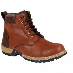 Bachini Brown Solid High Ankle Leather Boots