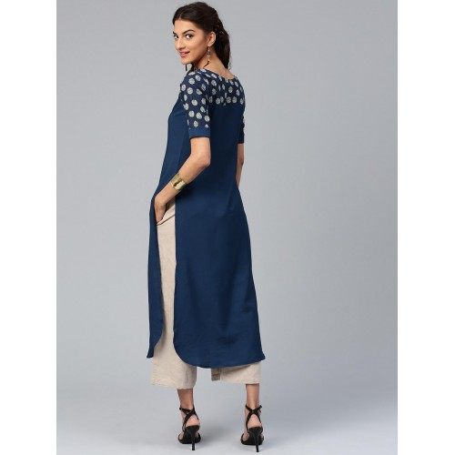 Libas Navy Blue Poly Crepe Printed Striaght Kurti