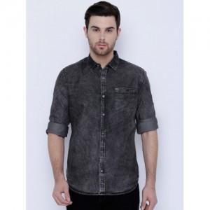 Locomotive Black Washed Slim Fit Denim Shirt
