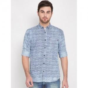 Locomotive Light Blue Printed Denim Shirt