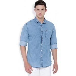 Locomotive Light Blue Solid Denim Slim Fit Shirt
