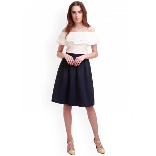 SASSAFRAS Navy A-Line Skirt