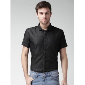 Mast & Harbour Charcoal Grey Cotton Denim Solid Casual Shirt