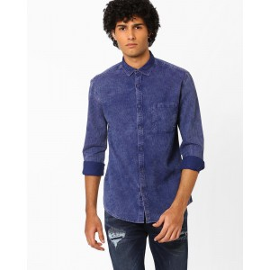 Nature Casuals Blue Slim Fit Shirt with Patch Pocket