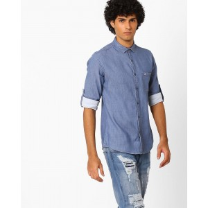 Nature Casuals Blue Twill Shirt with Roll-Up Sleeves