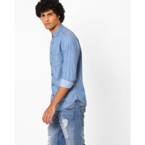 Nature Casuals Light Blue Slim Fit Denim Shirt