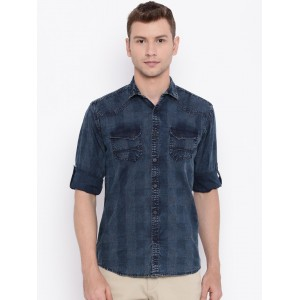 Nature Casuals Men Blue Checked Slim Fit Casual Shirt
