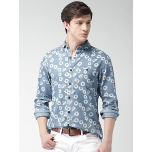 Mast & Harbour Blue & White Regular Fit Floral Print Casual Shirt