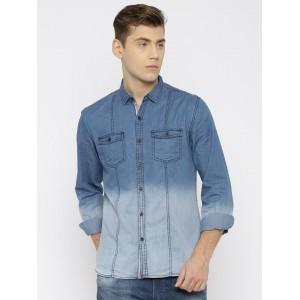 Nature Casuals Men Blue Slim Fit Faded Denim Casual Shirt