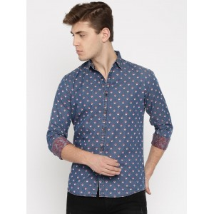 Nature Casuals Navy Blue Slim Fit Printed Casual Denim Shirt