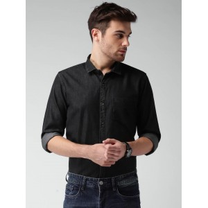 Mast & Harbour Black Cotton Solid Denim Casual Shirt