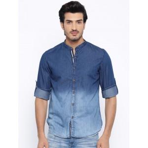 Nature Casuals Blue Ombre-Dye Slim Denim Casual Shirt