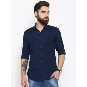 Nature Casuals Men Navy Blue Slim Fit Solid Denim Casual Shirt