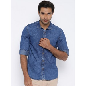 Nature Casuals Blue Washed Denim Slim Casual Shirt