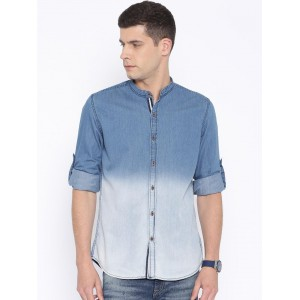 Nature Casuals Blue Ombre-Dyed Slim Denim Casual Shirt