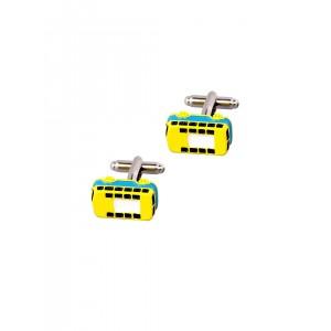 Tossido Yellow Bus Shaped Cufflinks