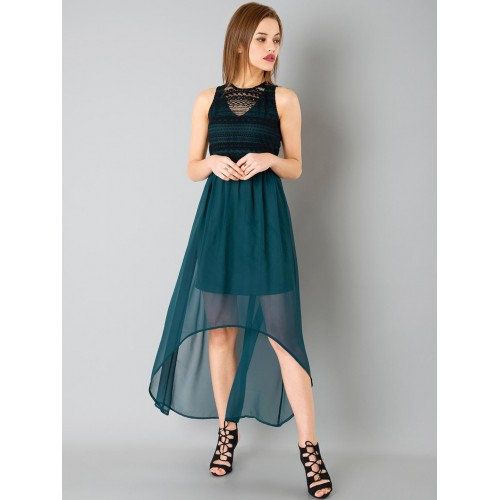 73a9f514617 Buy FabAlley Teal Green   Black Solid High-Low Dress online ...