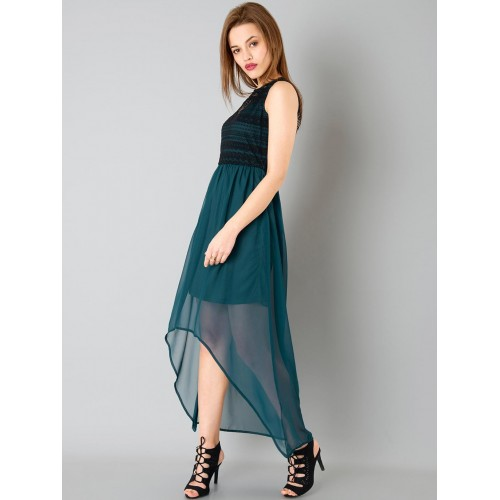 FabAlley Teal Green & Black Solid High-Low Dress