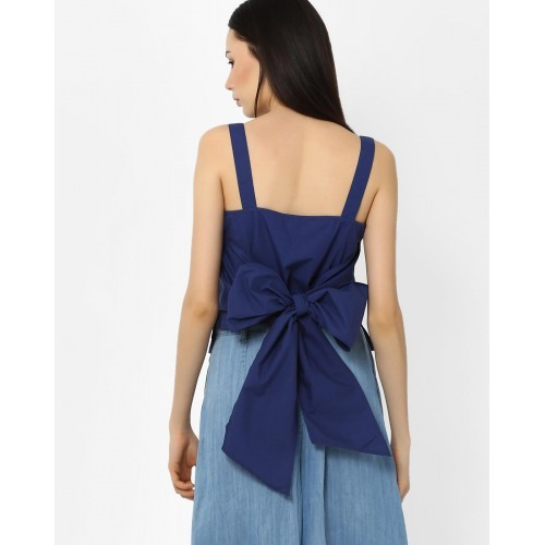 AJIO Blue Solid Strappy Top with Bow Detail