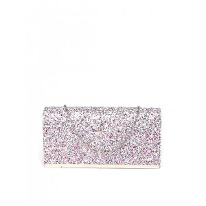 Mast & Harbour White & Purple Shimmery Clutch