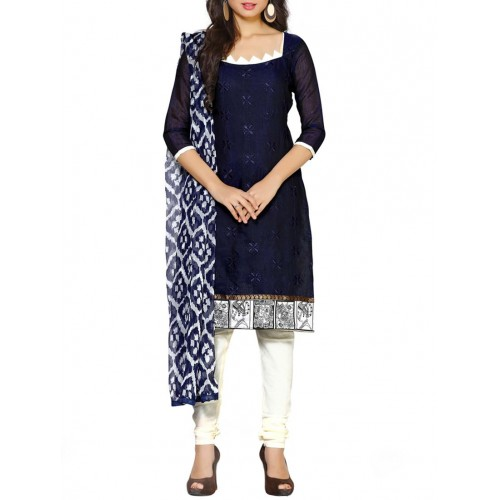 Price Bet India Navy Blue Cotton Straight Unstitched Suit