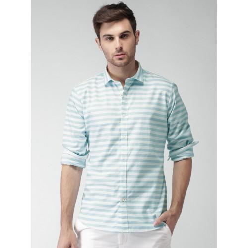 428398975e5 Buy Mast & Harbour Men Blue & White Striped Casual Shirt online ...