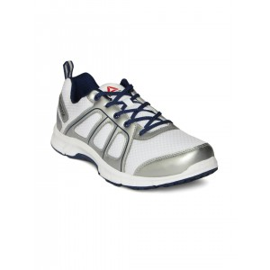 Reebok White & Silver-Toned Fast N Quick Running Shoes