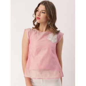 IMARA by Shraddha Kapoor Women Pink Sheer Top