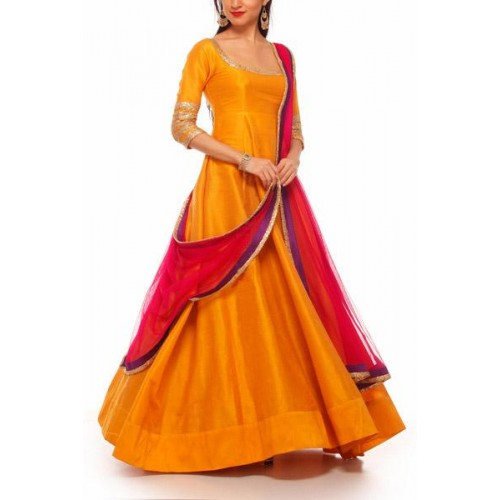 Style Amaze Yellow Semi Stitched Anarkali Salwar Suit