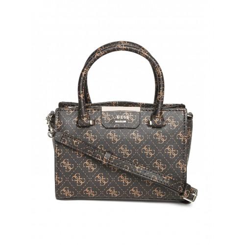 f60944064966 Buy GUESS Coffee Brown Logo Print Handbag with Sling Strap online ...