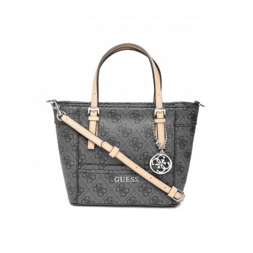 5970e9007649 Buy GUESS Grey   Black Logo Print Sling Bag online