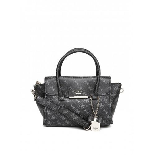 8074f3c00fae Buy GUESS Charcoal Grey Logo Print Handbag with Sling Strap online ...