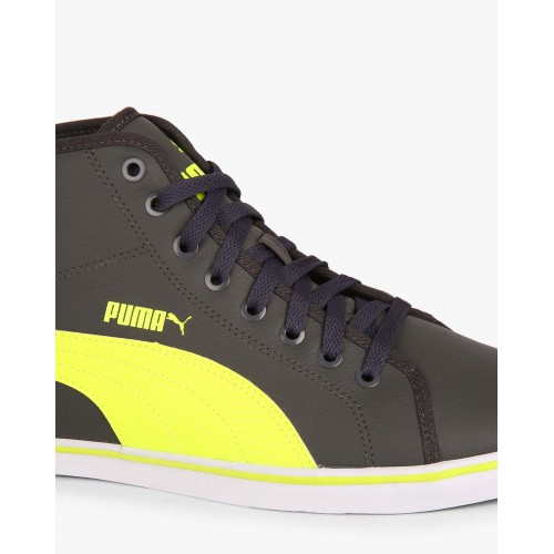 Puma Gray Synthetic Leather Lace Up Sneakers