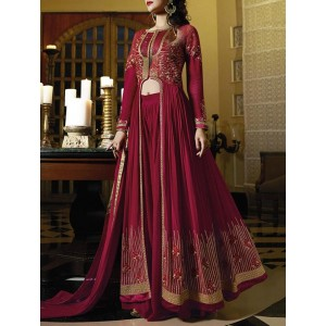 Lilots Maroon Embroidered Semi-Stitched Suit