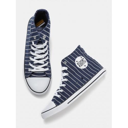6c316c08d9d Buy Kook N Keech Men Navy Striped High Ankle Sneakers online ...
