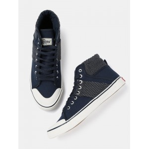 Roadster Men Navy Woven High Ankle Sneakers