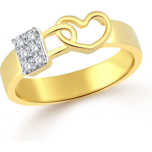 Classic Lock in Heart for Men [CJ5037FRG20] Alloy Cubic Zirconia Yellow Gold Ring