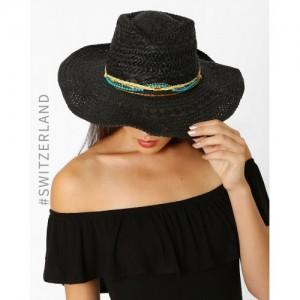 TALLY WEiJL Black Paper Straw Cowboy Hat