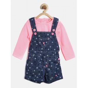 Nauti Nati Girls Pink & Navy Printed Clothing Set