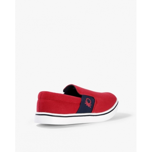 United Colors of Benetton Red Canvas Slip On Casual Shoes